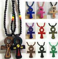 Wholesale wood crosses wholesale - ANKH Egyptian Power of Life Cross Good Wood Hip Hop Goodwood Fashion Necklace
