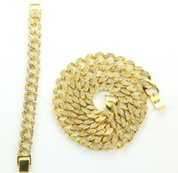Solid Miami Cuban Link Chain Necklace 14k Gold Plated 30