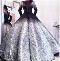Wholesale Kim Kardashian V Neck Dress - Evening dress Yousef aljasmi Labourjoisie Kim kardashian Ball gown Long sleeve V-Neck Silver gianninaazar Kylie Jenner Zuhair murad