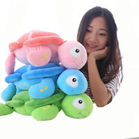 Wholesale Green Turtle Pillow - 40-58cm Cartoon colorful tortoise doll Stuffed Down Cotton soft Turtle pillow Cushion baby doll birthday gift for Child