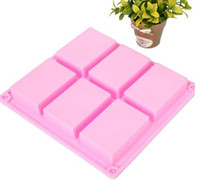 Wholesale Wholesale Silicone Mold Baking - 6 square Silicone Baking Mold Cake Pan Molds Handmade Biscuit Mold Soap mold mould