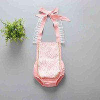 Wholesale Korean Jumpsuit Rompers - 2017 Baby Girls rompers New Floral Lace Princess Toddelr Jumpsuit Korean Fashion Cotton Sequins Onesie Summer Infant one piece Pink A6280