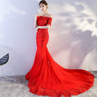 Wholesale Mermaid Taffeta Lace Up Organza - 2017 Red Elegant Lace Capped Boat Neck Short Sleeves Lace Up Back Mermaid Court Train Sequines Embroidery Wedding Dress