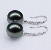 Wholesale Pearl Tahiti - 925 silver real natural big Natural light round Tahiti Pearl Earrings Ear Hook 925 Silver Earrings special offer