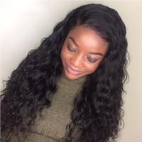 perucas onduladas para mulheres venda por atacado-Molhado E Ondulado Cheia Do Laço Perucas de Cabelo Humano Para As Mulheres Negras Onda De Água Do Virgin Peruano Rendas Frente Perucas Natural Da Linha Fina G-EASY