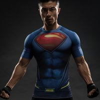 Wholesale Men S Batman Costume - 2017 Batman VS Superman T Shirt Tee 3D Printed T-shirts Men Short Raglan sleeve Fitness Cosplay Costume Slim Fit Compression Top Male