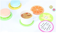 Wholesale Fruit Table Decorations - Silicone Pot Holders candy colors silicone Cup mat fruit insulation mat New silicone anti-skid anti-hot Table Decoration Mats Pads wholesale