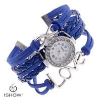 Wholesale Crystal Love Bracelet - Blue Women Leather Bracelet Watch Women Dress Watches Vintage Quartz Analog Fashion WristWatch Gift Valentine's Day