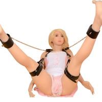 Wholesale Leg Harness Sex - New BDSM Slave Open Legs Restraint System Sex Bondage Female Leather Chastity Harnesses Ankle Cuffs Sex Toys