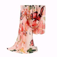 Wholesale New Designs Scarves - Wholesale-New Design Colorful Fashion Size160*45cms Butterfly Animal Pattern Printing Women Scarf Shawls Chiffon Femme Girls Echarpe Cape