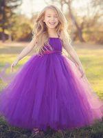 Wholesale Tutu Dresses Usa - New 2017 tulle gray baby bridesmaid flower girl wedding dress fluffy ball gown USA birthday evening prom cloth tutu party dress