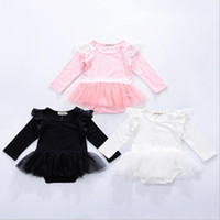 Wholesale Wholesale Lace Rompers - Kids Clothing Ins Lace Girls Rompers Boys Fly Sleeve Jumpsuits Toddler Fashion Onesies Newborn Princess Tutu Bodysuits Baby Clothes B3203