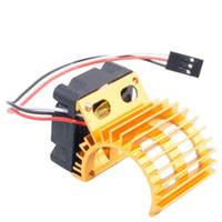 Wholesale Electric Motor For Fan - RC HSP Gold Alum 380 390 Motor Heat Sink DC 7.2V Brushless Fan For 1:16 Truck