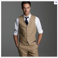 Wholesale Men Tan Wedding Suits - Wholesale- Custom Beige Wedding Suit For Men Lapel Mens Suits Tan Tuxedos Two Button Groomsmen Suit Three Piece Suit (Pants+Vest+Tie)