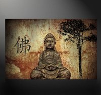 Wholesale Giclee Poster - Unframed Big Buddha Poster Giclee Wall Art Oil Painting On Canvas Textured Abstract Paintings Picture Decor Living Room Decor