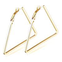 Wholesale Wholesale Wire Earring Hoops - Women Gold Plated Triangle Wire Hoop Earrings Germetric Jewelry