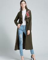ingrosso cappotto di lana floreale-New Fashion Women Coat Giacca invernale da donna con ricamo floreale Miscele di lana Capispalla lunga Cappotto Abbigliamento