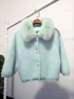 Wholesale ladies mink fur coats - Wholesale- 2016 New Ladies BianFuShan short mink mink cashmere cashmere cardigan coat fox fur thick loose sweater