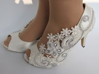 Wholesale White Suede Peep Toe Pumps - Top Selling Free Shipping white silk lace open toe crystal Wedding Dress Bride shoes Bridemaid shoes size 5-9.5