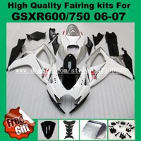 Carrinhos K6 para SUZUKI GSXR600 GSXR750 06 07 K6 K7 branco preto prata GSX-R600 GSX-R750 2006 2007 # E422 Kit de carenagem kit de carenagem + 9Gifts