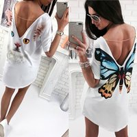 Wholesale White Blouse Blue Patterns - Ladies Casual Cat Butterfly Pattern Print V-Back Short Sleeve Scoop Neck Summer Loose Jumper Backless Tops Womens Blouse T-Shirt Shirt Tee