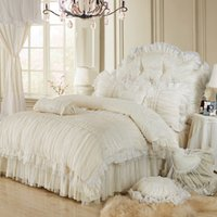 Wholesale Wedding Lace Quilt - Wholesale-Luxury lace ruffle bedding set, twin queen king cotton girl, french princess wedding home textile bedspread quilt cover 4pcs