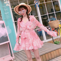 Wholesale DE Latest Design Photos Summer Sweet Jumpsuits Long Sleeve Romper Silk Like Outfit Pink Floral Style