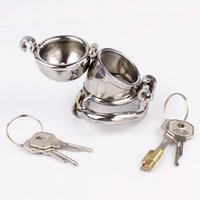 Wholesale Steel Metal Chastity Cage - Double Lock Design Male Chastity Device Stainless Steel Chastity Cage Metal Penis Lock Chastity Penis Ring Sex Toys For Men