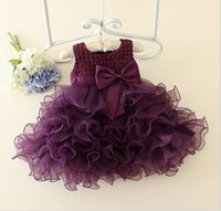 Wholesale Little Girls Party Clothing - Christmas Little Baby Girls Lace tutu Dresses Girls Princess Bow Party Dress Kids Girls Pearl Korean Dress 2017 Babies clothing