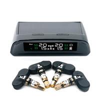 Wholesale tpms sensor internal tire pressure - Wholesale- TN400 Wireless Tire Pressure Monitoring TPMS System sensor With 4 Internal Sensor Solar Energy