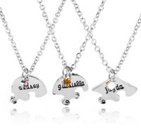 Wholesale simple small necklace resale online - Good A Good friend series love letters small diamond simple fashion necklace WFN461 with chain mix order pieces a