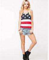 Wholesale Usa Flag Tank Top Women - Fashion Women Summer Tanks tops Sexy Sleeveless tshirts American USA Flag Print Stripes Vest Shirt ladies casual vest T-shirt