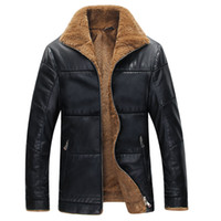 Wholesale mens wool coat leather sleeves - Wholesale- Winter Leather Jacket Men Thickening Warm Windbreak Outwear Lamb Fur Collar mens leather Jackets and Coats Plus Size M-6XL