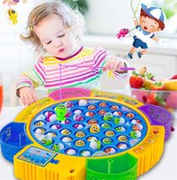 Wholesale Magnetic Game Set - kids fishing toys set children educational toys musical gifts electric rotating fishing game no magnetic outdoor sports toys