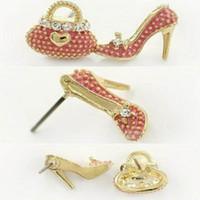 Wholesale Asymmetric Heels - fashion choker asymmetric earrings bag high-heeled shoes ear stud personality grace cute earbob for women YRR-37