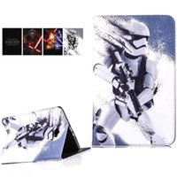Wholesale Star Flip Case - iPad 6 5 air 2 1 mini 4 Samsung Tab A T550 Star war Flip Cover Cartoon PU Case auto sleep wake OPP BAG