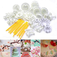 Wholesale Sugarcraft Biscuit - 2017 new 33pcs Plunger Fondant Cutter Cake Tools Cookie Biscuit Cake Mold Mould Craft DIY 3D Sugarcraft Cake Decorating Tools Flower Set