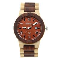 Wholesale Unique Wrist Jewelry - BEWELL Wooden Watch Men Lightweight Unique Luxury Brand Wrist Watch Quartz Men Watch with Calendar 109B