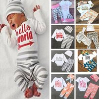 Wholesale Deer Baby Girl Shirt - Baby Baby Girls INS Deer Sets Clothing 3pcs Suits Beanie+Romper+Leggings Pants Top T-shirt Newborn Hat Letter Outfits Sets PX-S51
