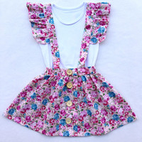Wholesale Vintage Style Children Clothing - Vintage Baby Girls Clothing Set Fly Sleeve Floral Girls Skirt Tees Toddler Outfit Children Summer Outfit