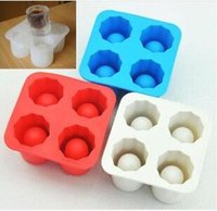 Wholesale cooling tub for sale - Silicone Four hole Ice Cube Mold Bar Party Drink Tray Cool Shape Ice Cube Freeze Mold Ice Maker Mould