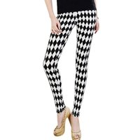 Wholesale Pants Porcelain - Wholesale- Hot Women Girl Multi Pattern Skinny Legging Pants Stripe Grid Porcelain Geometry Pencil Leggings