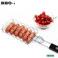 Wholesale Hot Dog Grills - Hot Dog Rack Metal Mesh Baskets BBQ Barbecue Sausage Grilling Basket Grill Rack BBQ Accessories Christmas Party BBQ Tool 21.8''