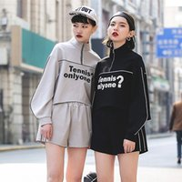 Wholesale Two Piece Women Ski Suits - The New Women Letter Printing Splicing Irregular Loose Sweater Two-piece Korean Leisure Sports Fashion Suit
