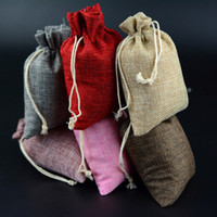 Wholesale Wedding Pouches Favors - Mini Burlap Jute Drawstring Gift Jewelry Pouches Bags for Wedding Favors Christmas Party Gift Wrap