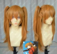 Wholesale Asuka Langley - EVA Asuka Soryu Asuka Langley Orange Clip Ponytail Cosplay Wig Hair free shipping