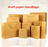 Wholesale Clothe Hand Bags - Square Stand Kraft Composite Materials Hand Pack Pouches  Clothing Daily commodity Gifts Cosmetics Shopping Kraft Bags with Handle
