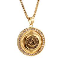 colares maçônicos homens venda por atacado-Correntes de ouro para Homens Hip Hop Jóias Homens De Aço Inoxidável Rodada Moeda Freemason Signet Passado Mestre Masonic AG Emblema Pingente de Colar de Jóias