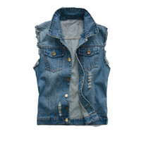 ingrosso jean stile sottile-Giubbotto jeans uomo coreano strappato giacca di jeans slim fit senza maniche 2018 estate nuovi jeans stile maschile cappotto 6XL