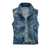 vestes jeans homme xl achat en gros de-Hommes coréens Jeans Gilet Déchiré Denim Veste Slim Fit Sans Manches 2018 D'été Nouveau Style Jeans Mâle Manteau 6XL